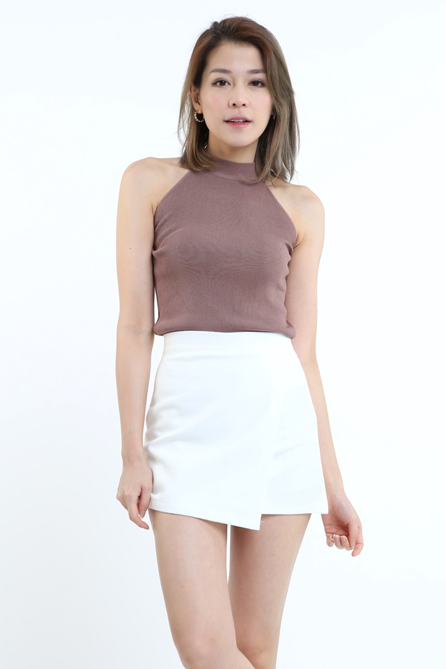 IN STOCK - REID KNIT HALTER TOP IN BRICK BROWN