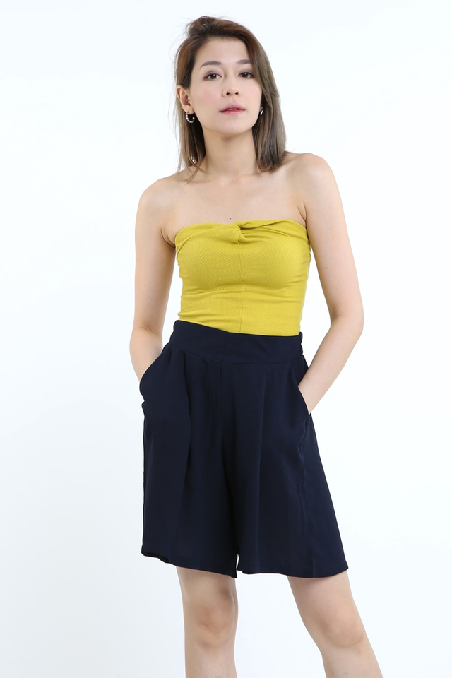 BACKORDER - TWIST KNOT TUBE TOP IN DULL YELLOW
