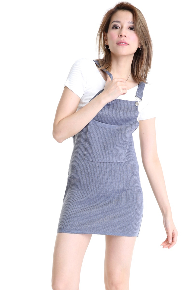 IN STOCK - PYPER KNIT PINAFORE IN GREY