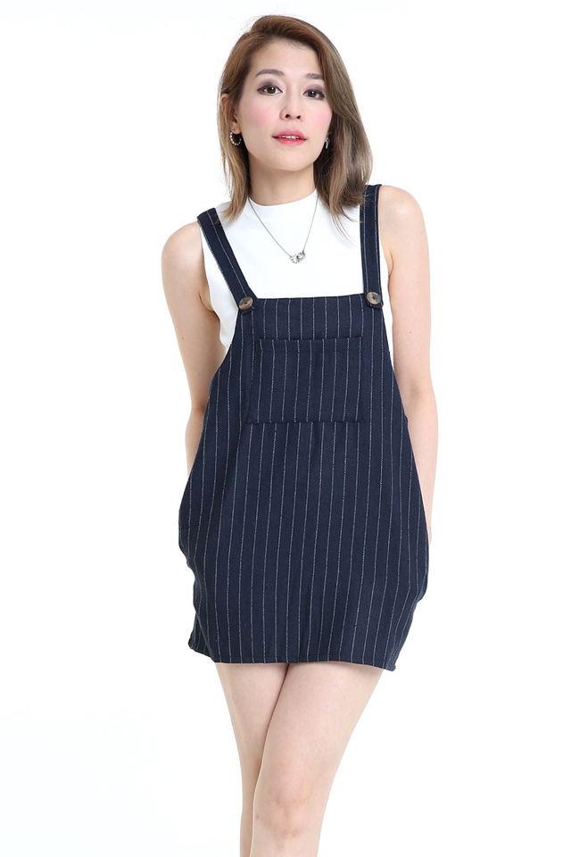 IN StOCK - Navy Blue  Stripes Pinafore