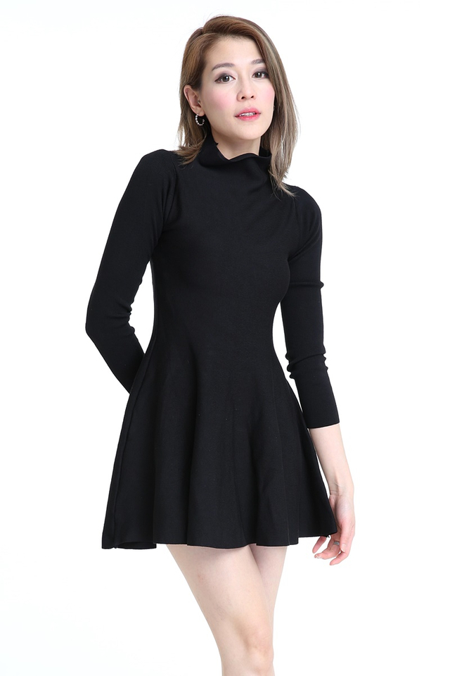 IN STOCK - NORA SKATER KNIT DRESS IN BLACK (LONG SLEEVE)