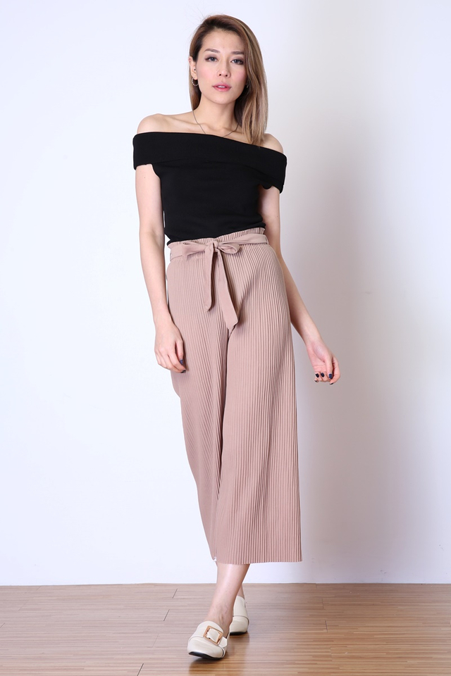 BACKORDER  -REECE PLEATED BELTED PANTS IN LIGHT BROWN