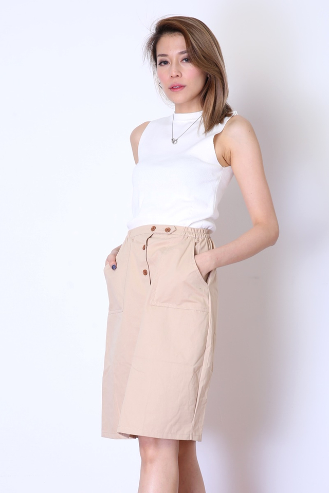 BACKORDER - HUGO BUTTON SKIRT IN LIGHT BROWN