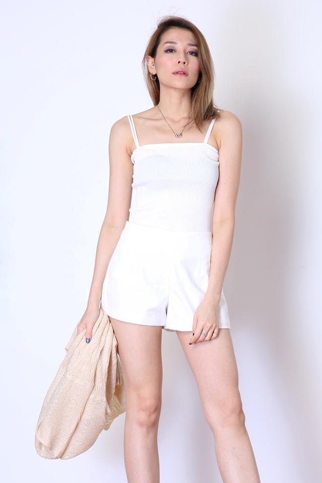 IN STOCK - DUO STRAP BASIC KNIT TOP IN WHITE