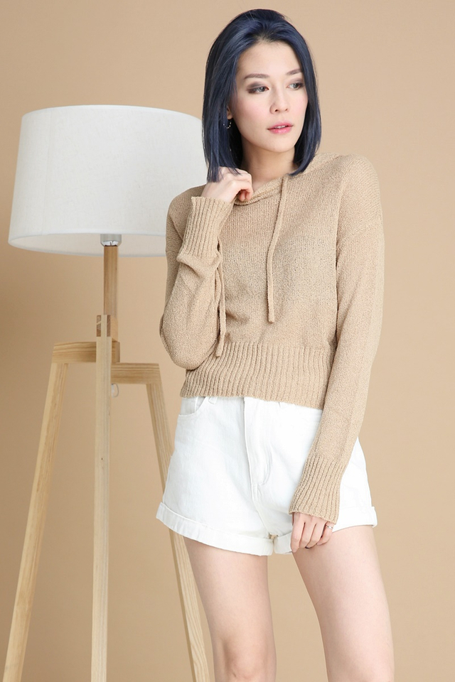 BACKORDER- CHESTER HOODIE KNIT TOP IN BROWN