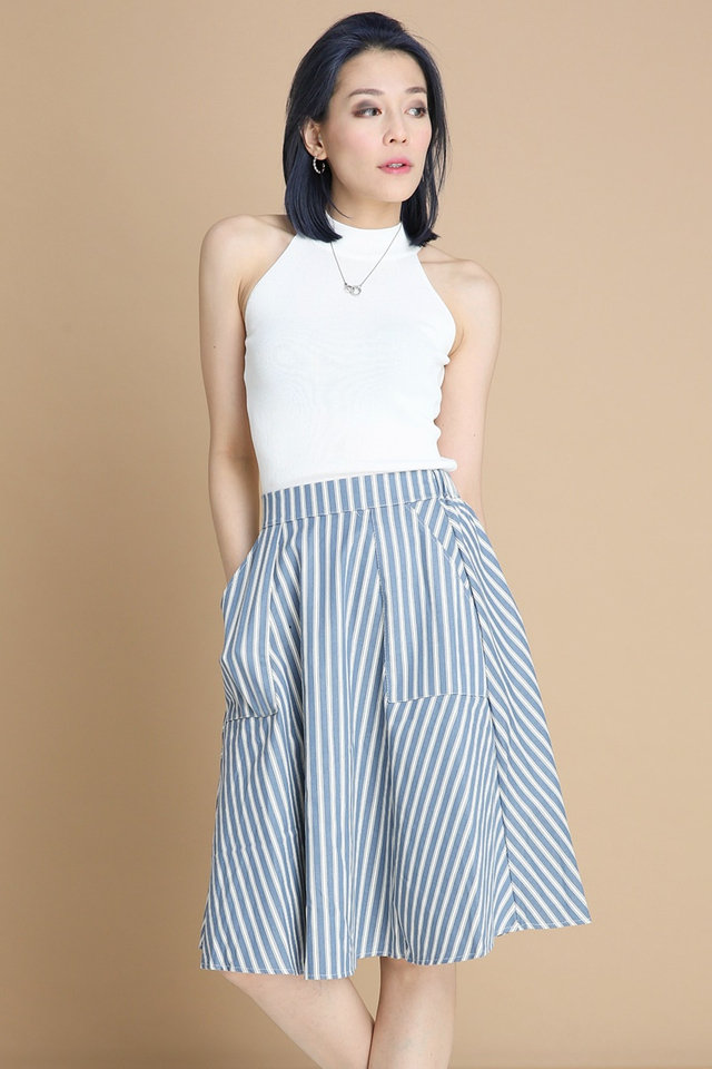 BACKORDER - JURNEE STRIPES SKIRT IN BLUE
