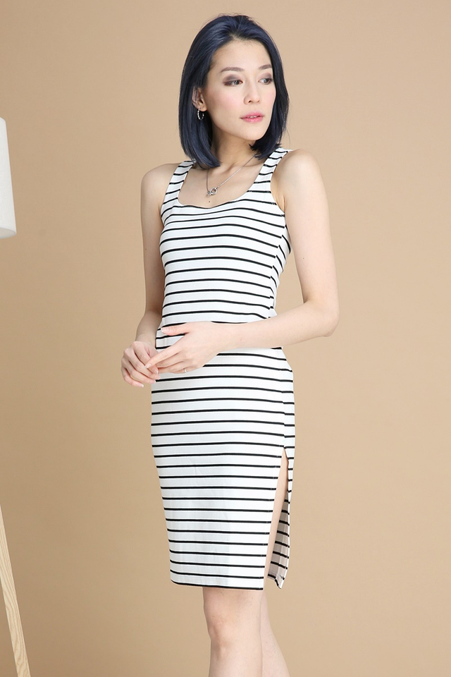BACKORDER - KANTA STRIPE DRESS IN WHITE