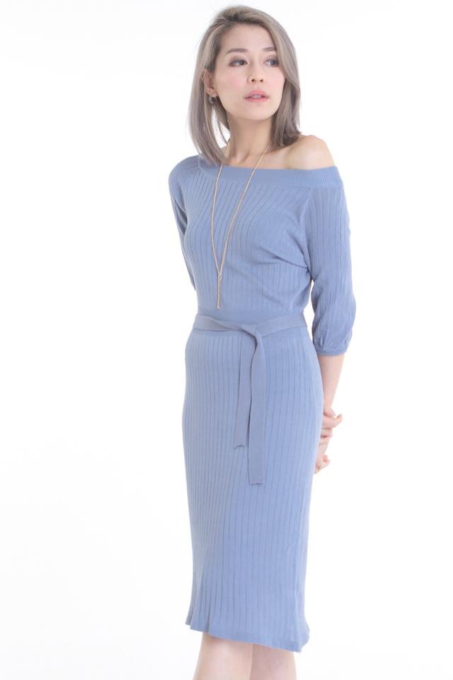 BACKORDER- WARREN KNIT DRESS IN GREYISH BLUE