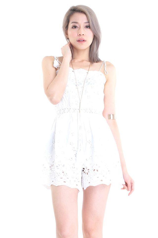BACKORDER - HUSNA CROCHET ROMPER IN WHITE