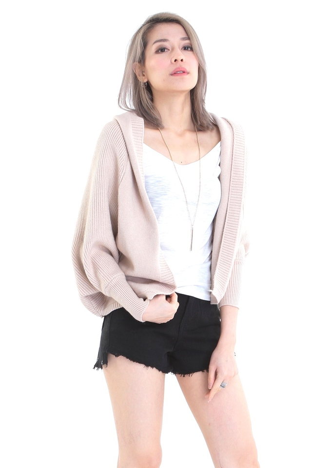 IN STOCK - HOODIE KNIT CARDIGAN IN BROWN