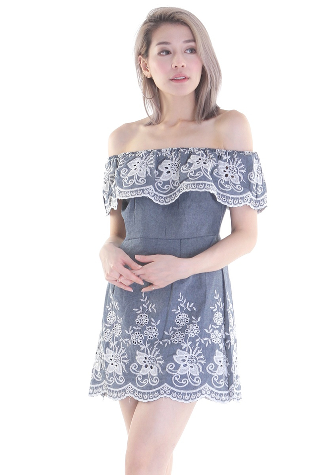 BACKORDER - CARDO EMB DRESS IN DENIM BLUE