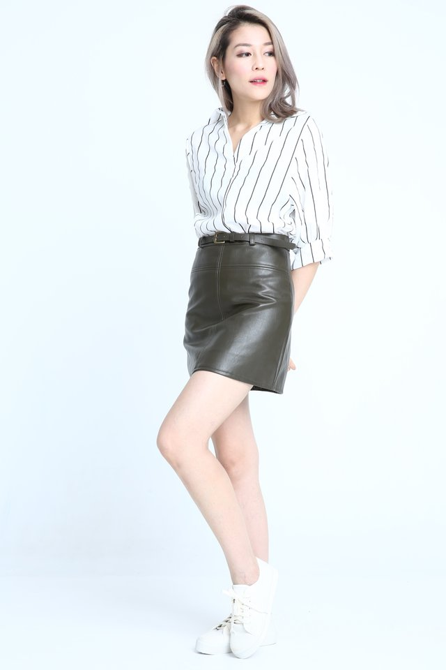 IN STOCK - BELTED FAUX LEATHER SKIRT IN MILITARY GREEN