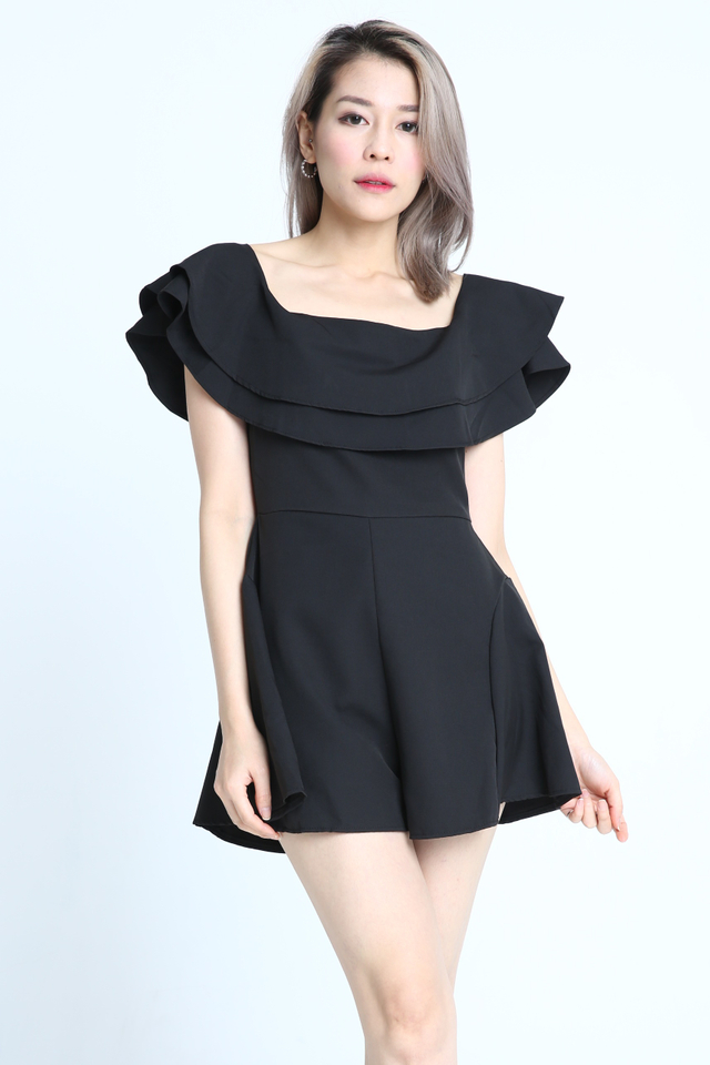 BACKORDER - LANA RUFFLES ROMPER IN BLACK