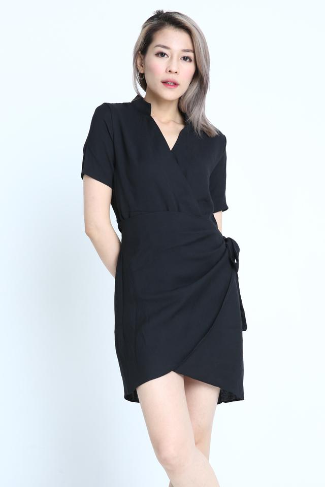IN STOCK - NETE WRAP DRESS IN BLACK