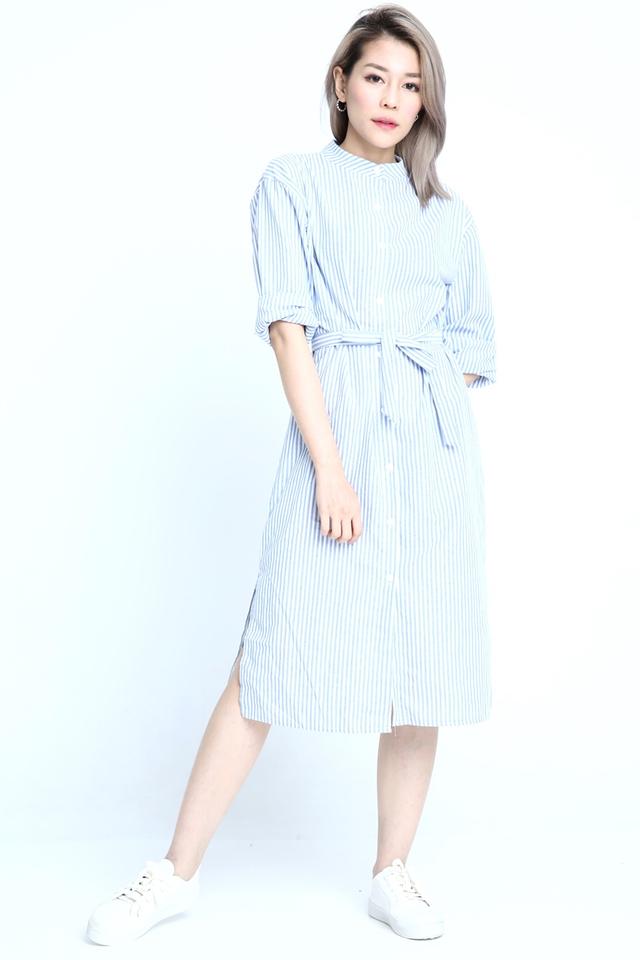 SG IN STOCK   -CADEN STRIPES LONG DRESS IN BLUE WHITE