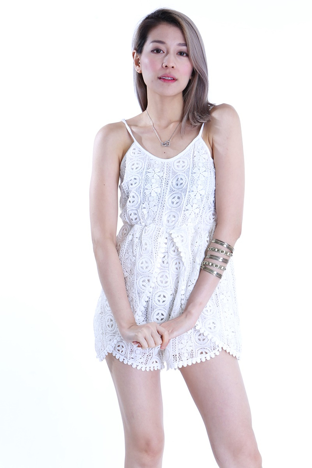IN STOCK - GYLE LACE ROMPER IN OFF WHITE