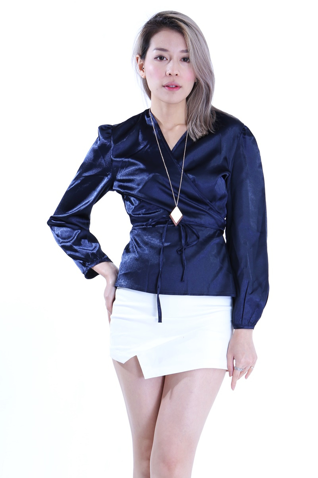IN STOCK - SHAY LONG SLEEVE WRAP TOP IN NAVY BLUE