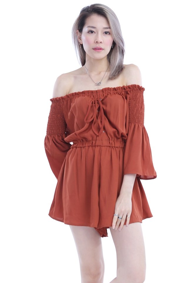 BACKORDER - LACE UP ROMPER IN BRICK BROWN