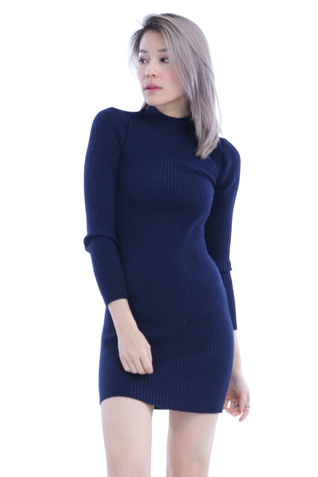 BACKORDER -  AERIN KNIT BODYCON DRESS IN NAVY