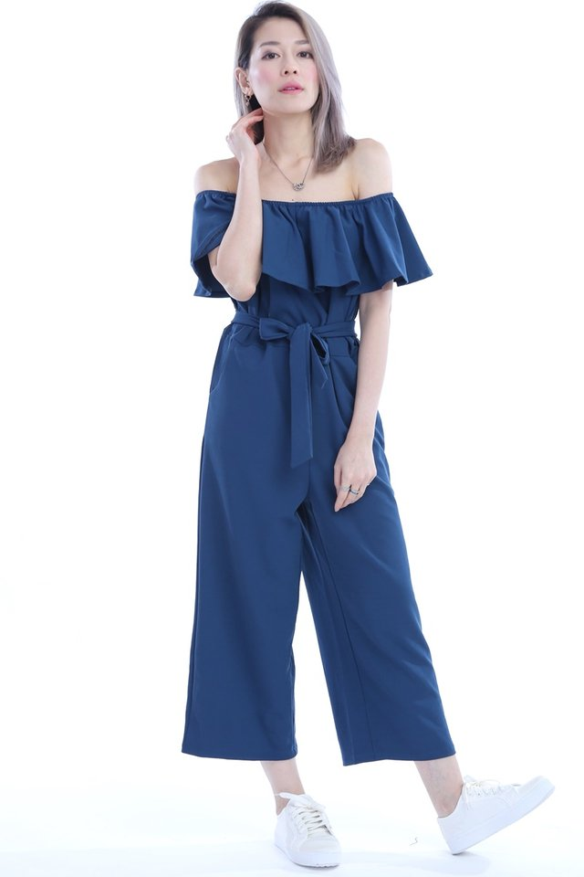 BACKORDER -EVA RUFFLES JUMPSUIT IN TEAL