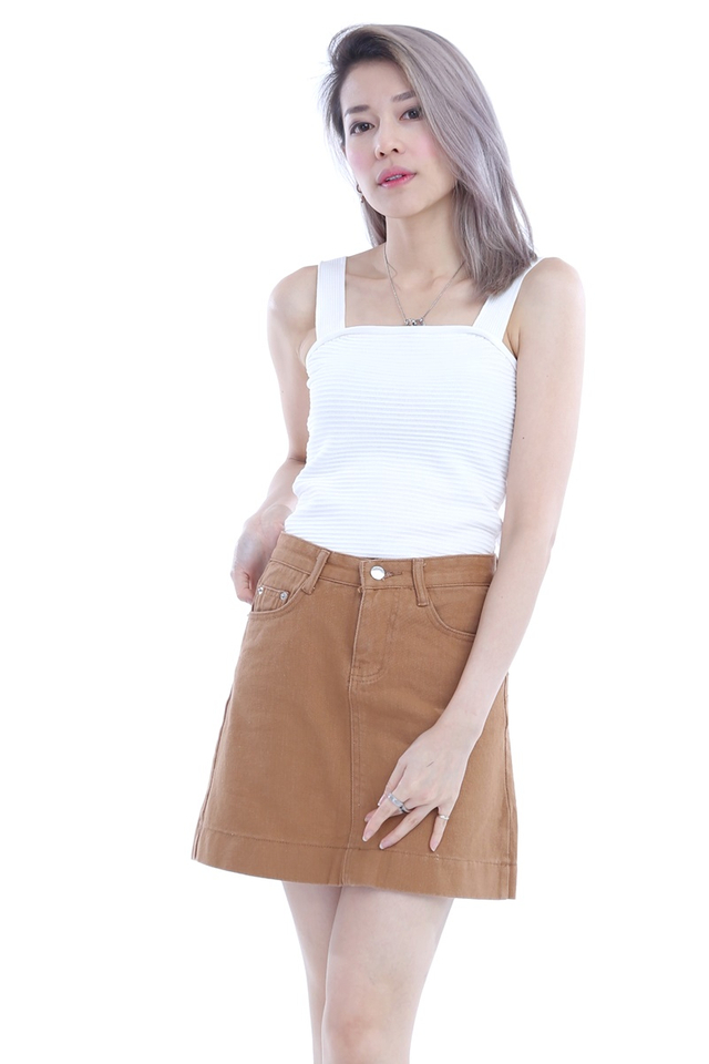 BACKORDER -  BROWN DENIM SKIRT