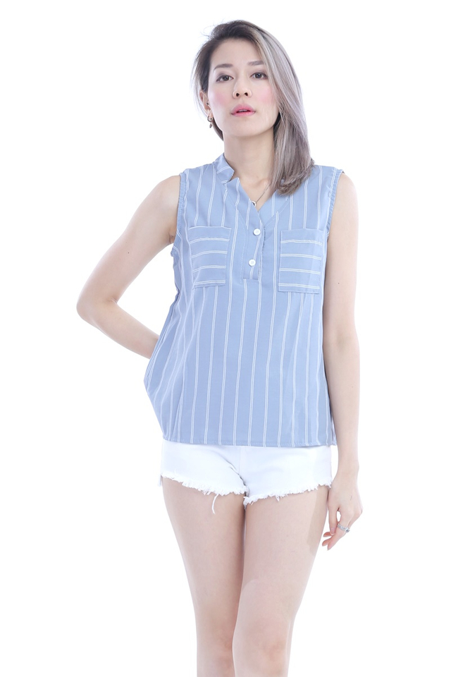 IN STOCK- MELISSA BLOUSE IN GREY BLUE