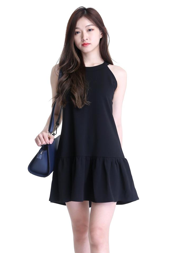 IN STOCK - RYDER HALTER DRESS IN BLACK