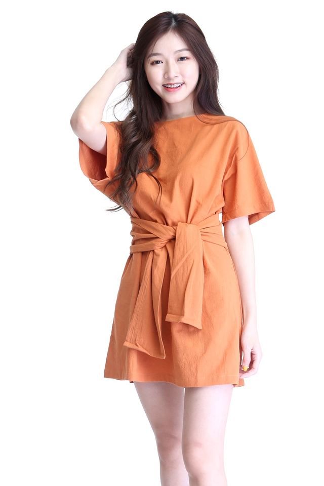 IN STOCK  - EUGENIA DRESS IN ORANGE BROWN