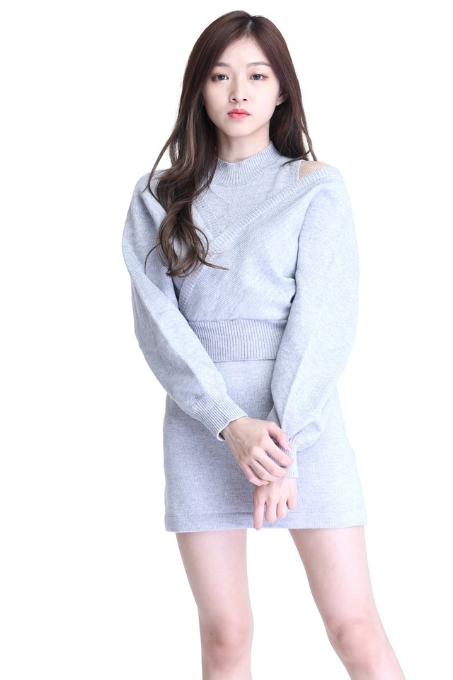 BACKORDER - NELIA 2 PIECES SET KNIT DRESS AND OUTER IN GREY