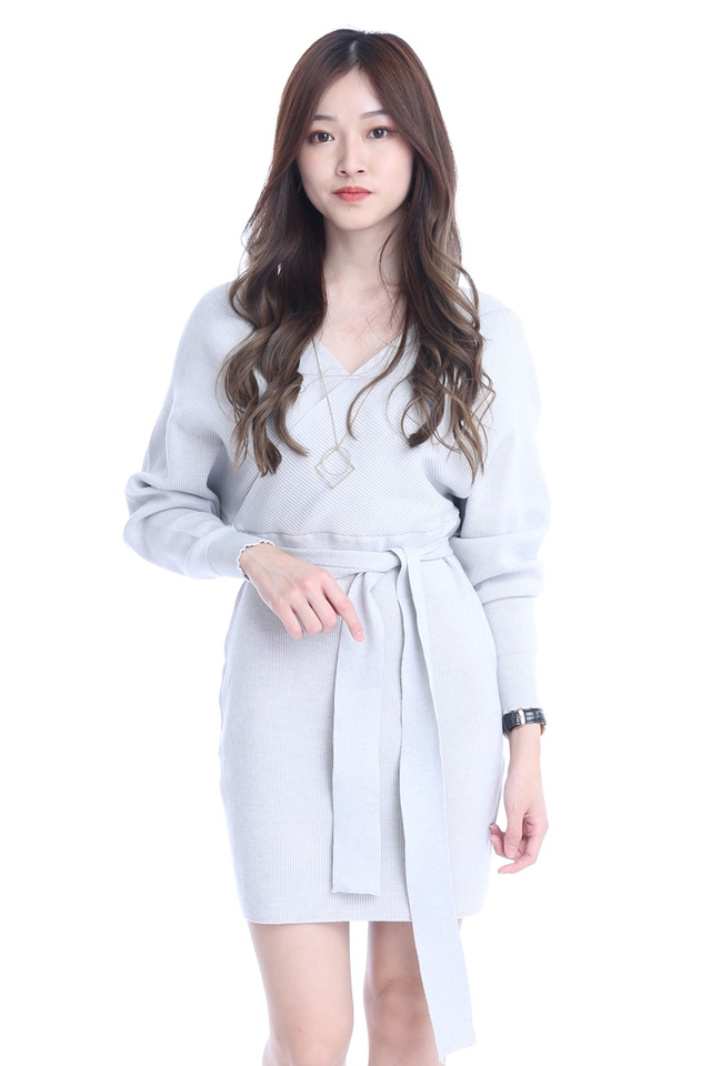 INSTOCK - NATHAN KNIT DRESS IN LIGHT GREY