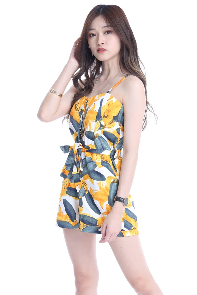 BACKOEDER - JAMESON PRINTED ROMPER IN YELLOW
