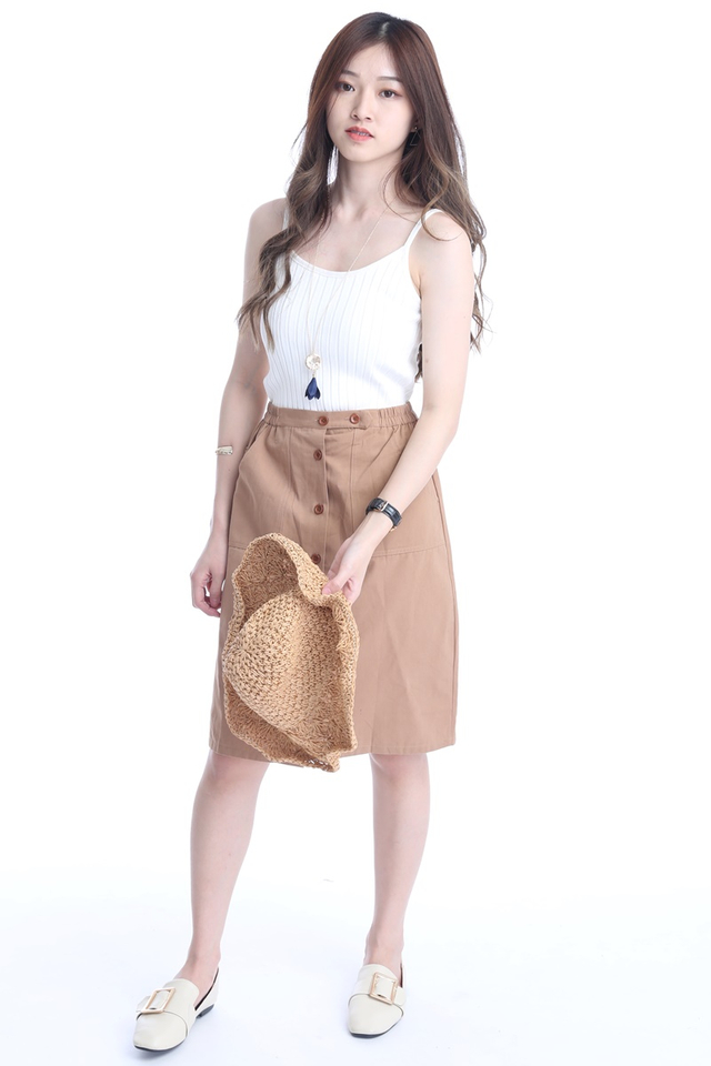 BACKORDER - HUGO BUTTON SKIRT IN DARK BROWN