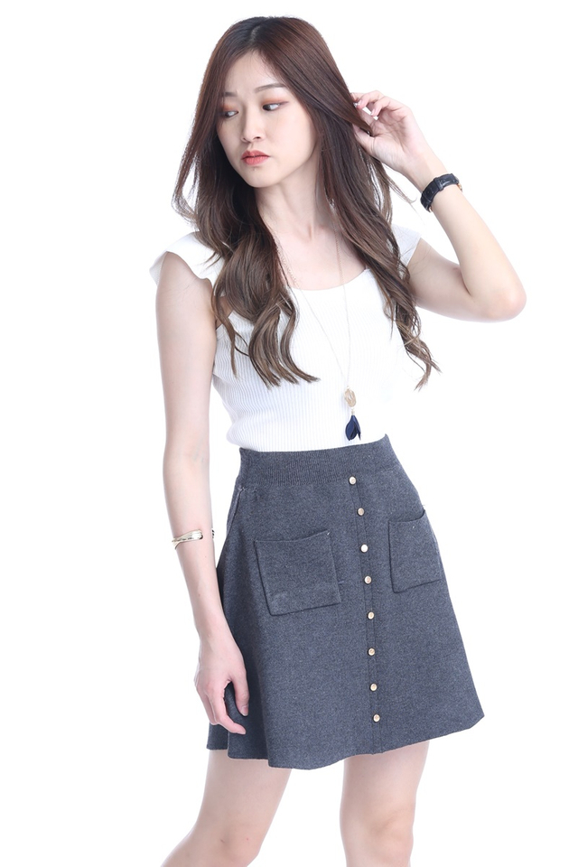 IN STOCK - KNIT SKATER SKIRT IN GREY