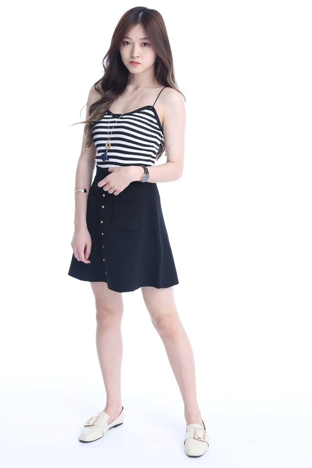 BACKORDER - KNIT SKATER SKIRT IN BLACK