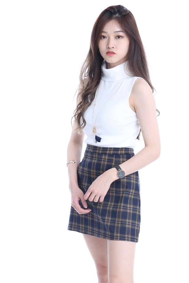 BACKORDER - RELLY CHECKERED SKIRT IN NAVY