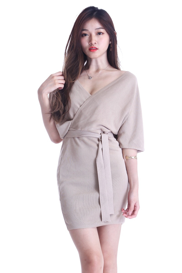 IN STOCK -SAGE KNIT DRESS IN LIGHT BROWN ( SHORT SLEEVE)