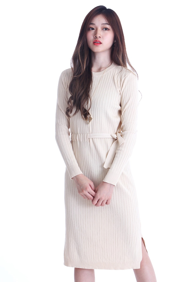 IN STOCK- EMBER KNIT DRESS IN NUDE COLOUR