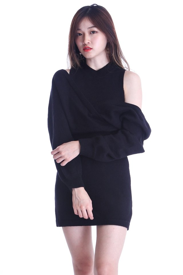 BACKORDER- NELIA 2 PIECES SET KNIT DRESS AND OUTER IN BLACK
