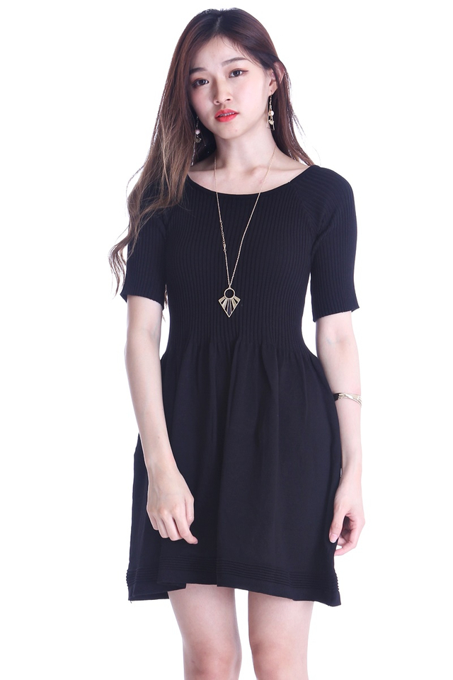 BACKORDER  -KAMILA KNIT DRESS IN BLACK