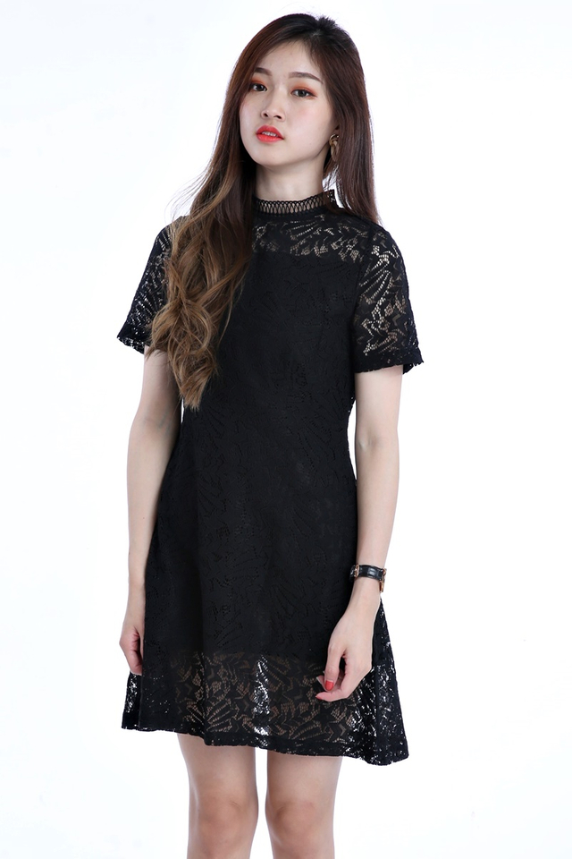 SG IN STOCK - YETTA LACE DRESS IN BLACK