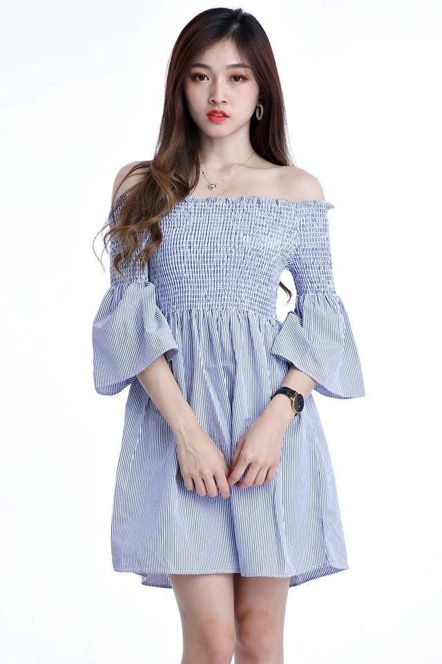 IN STOCK  - YINA STRIPES DRESS IN BLUE WHITE