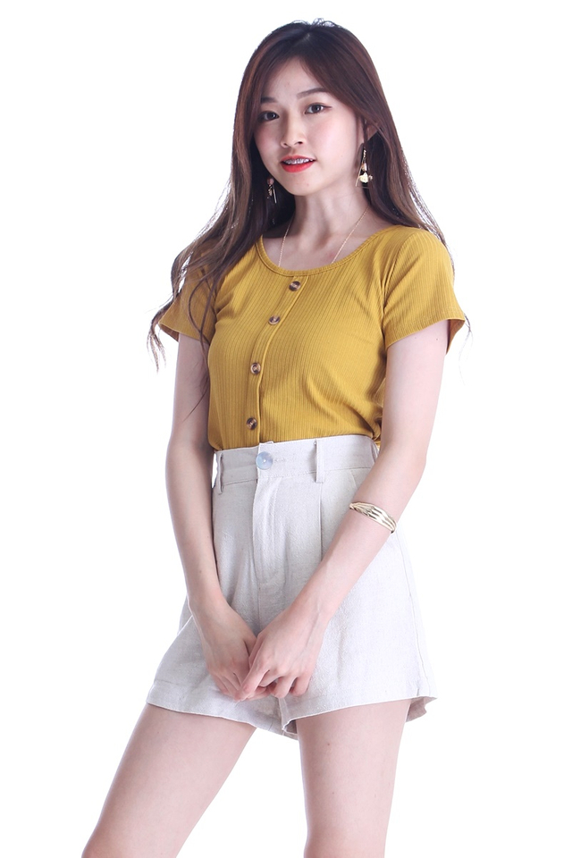 IN STOCK -SAMANTHA TOP IN MUSTARD YELLOW