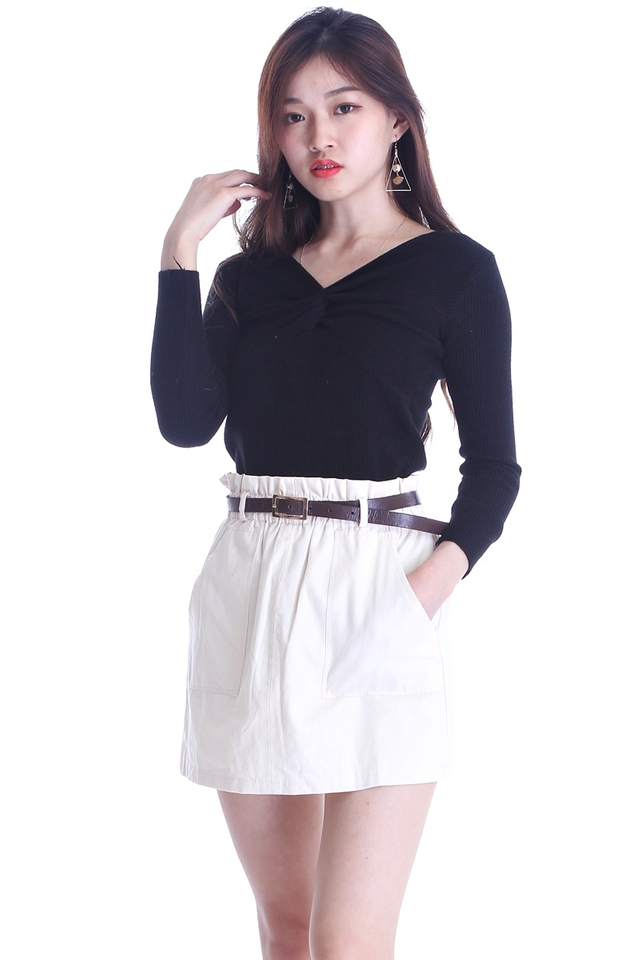 BACKORDER - IVANA SKIRT IN BEIGH WITH BELT