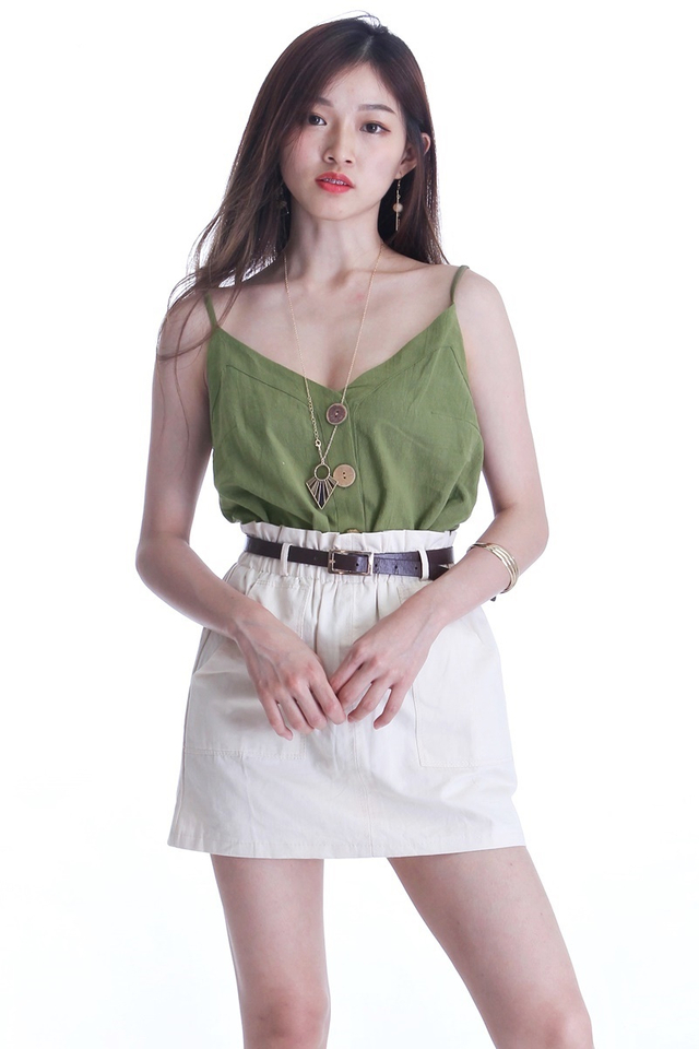 BACKORDER - JULIA SPAG TOP IN MILITARY GREEN