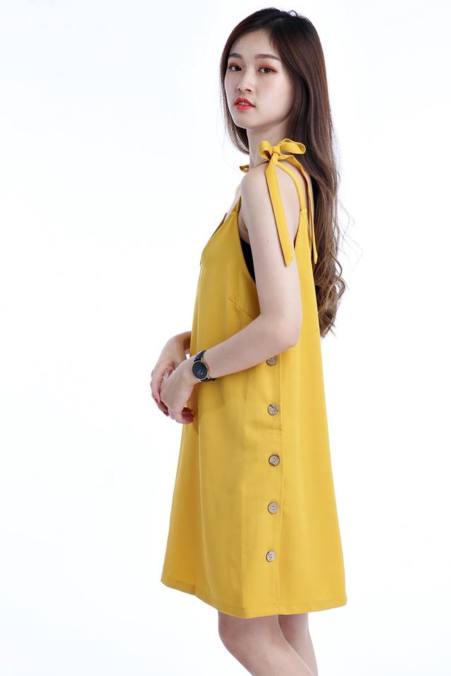 BACKORDER - SIDE BUTTON SHIFT DRESS IN MUSTARD YELLOW