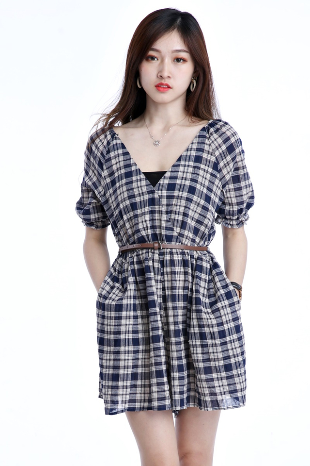 BACKORDER - TOMIKO CHECKERED ROMPER WITH BELT