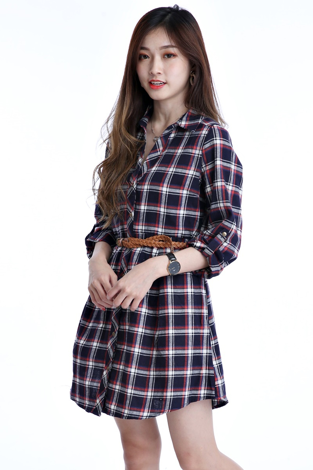 BACKORDER - RAYLIN CHECKERED DRESS WITH BELT