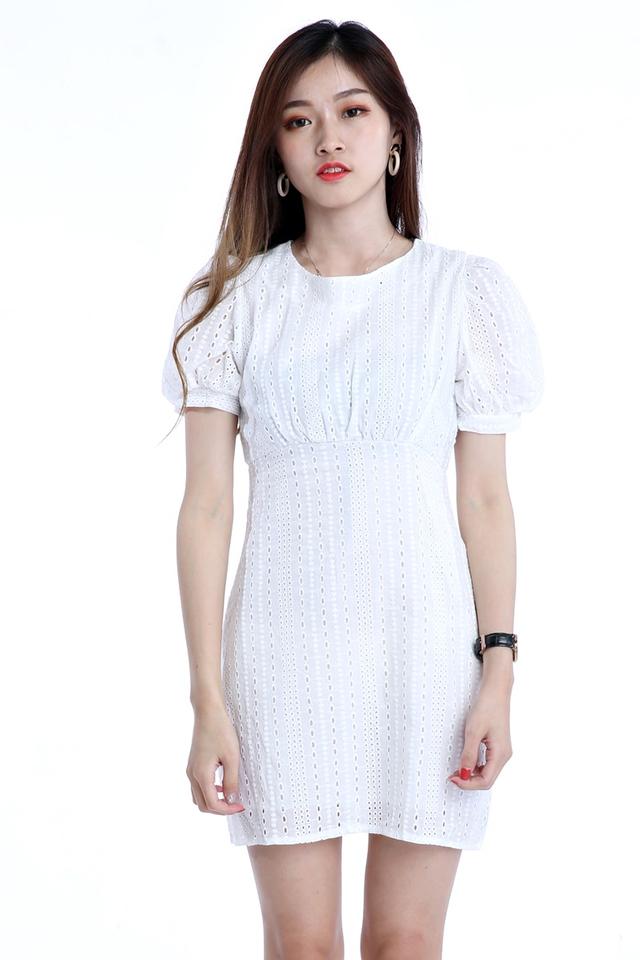 BACKORDER- PUFF SLEEVE CROCHET DRESS IN WHITE