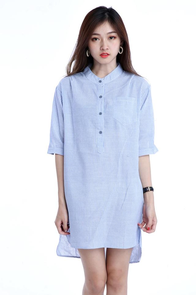BACKORDER- ADINA DRESS WITH BELT IN BLUE WHITE
