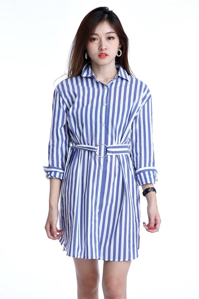 BACKORDER- SHIRT DRESS IN BLUE WHITE STRIPES